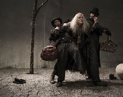 Aaron Monaghan as Estragon, Garrett Lombard as Lucky and Marty Rea as Vladimir in